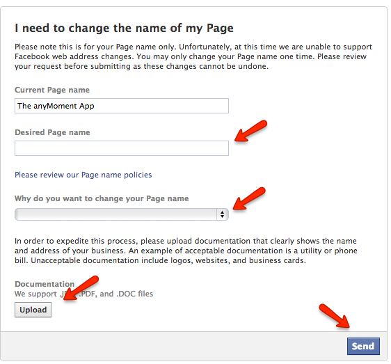 fb name change form