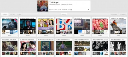 social media page on Pinterest